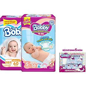 Combo 01 Miếng Lót Bobby Newborn NB2 60 + 01 Tã Dán S56 Tặng 1 Set Newborn