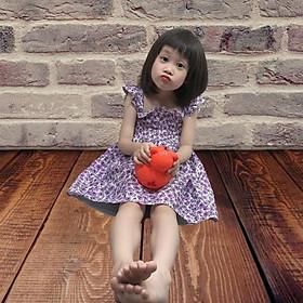 Váy đầm bé gái mùa hè kiểu tay con nhún bèo hoa nhí cho bé gái từ 12kg đến 28kg
