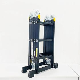 Thang nhôm gấp 4 đoạn Sumika SKM203 NEW (chữ A - 1.73m, chữ I - 3.58m), 14 tư thế sử dụng, tải trọng 150kg, sơn tĩnh điện, chống trầy xước, khóa chốt cao cấp, nhiều đế cao su chống trượt
