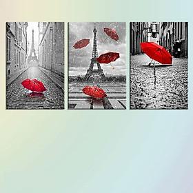 Bộ 3 Tranh Treo Tường Scandinavian Red Umbrella - W271