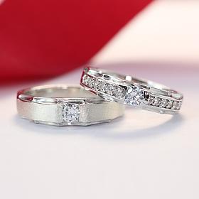Nhẫn bạc cặp đôi giá rẻ đính đá đẹp ND0176