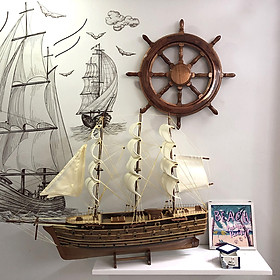 Mô hình thuyền gỗ trang trí Napoleon - thân 60cm - loại 2