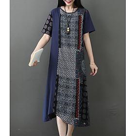Đầm suông nữ họa tiết thổ cẩm 2D0515