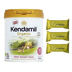 Sữa bột Nguyên kem công thức hữu cơ KENDAMIL ORGANNIC số 1: ORGANIC FIRST INFANT MILK (800G) ( cho trẻ từ 0-6 tháng tuổi) - Phát triển chiều cao và trí não, tăng cân, tăng sức đề kháng – Tặng 3 bánh quế cuộn hiệu Kapad