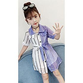 Đầm maxi phối 2 màu cho bé gái từ 13 đến 40 kg - V2M13