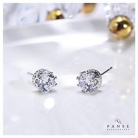 Khuyên tai nữ bạc 925 cao cấp - Bông tai nụ vương viện đính đá nữ tính nhẹ nhàng