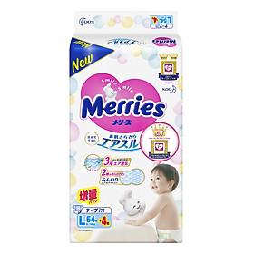 Bỉm - Tã dán Merries size L 58 nội địa (Cho bé 9 - 14kg)
