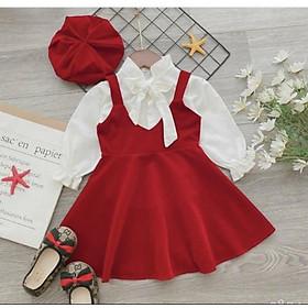 Váy bé gái tết gồm áo trắng váy yếm nhung và mũ nồi size to 22-35kg XHN483