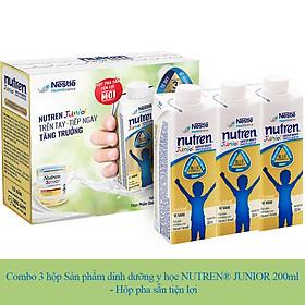 Combo 3 Hộp Sản Phẩm Dinh Dưỡng Y Học NUTREN JUNIOR 200ml - Hộp Pha Sẵn Tiện Lợi