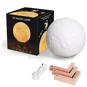Đèn ngủ mặt trăng 3D CỠ ĐẠI cảm ứng ( chạm, vỗ) đổi màu + đế gỗ