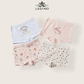 Set 4 chiếc quần chip bé gái, quần lót cho bé gái cotton cao cấp họa tiết Ngựa Pony dễ thương hãng LASAMO mã QLB003