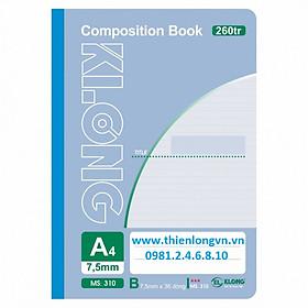 Sổ may dán gáy A4 - 260 trang; Klong 310 bìa xanh biển