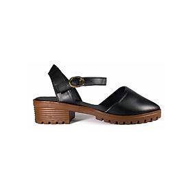 Giày Boot Bít Mũi Da Lì Hq - Đen