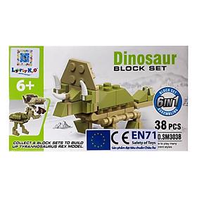 Bộ Xếp Hình Khủng Long 6In1 SM303B - The Triceratops (38 Mảnh Ghép)
