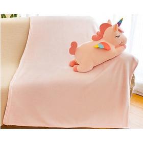 GẤU BÔNG ICHIGO ngựa pony ngồi kèm bộ chăn gối vải siêu mềm mịn co giãn 4 chiều