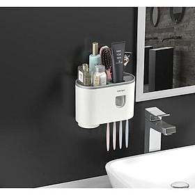 Kệ Phòng Tắm Thông Minh OENON Hàn Quốc Kèm Cốc Hút Từ lấy kem đánh răng tự động Giá đựng đồ đa năng dán tường