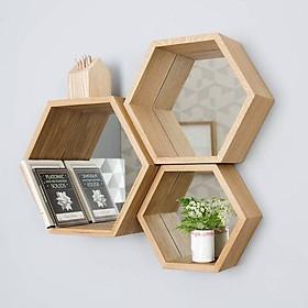 Bộ 3 kệ trang trí treo tường tổ ong hình lục giác bằng gỗ tự nhiên cao cấp VIMOS
