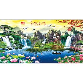 Tranh đính đá phong cảnh Lưu thủy sinh tài DLV028 Kích thước 160cm x 85cm