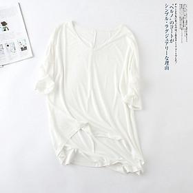 IELGY Casual Korean V-neck solid color T-shirt