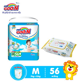 Tã Quần Goo.n Premium Cao Cấp Gói Cực Đại Size M56 (56 Miếng) + Tặng bịch khăn ướt Goo.N Premium 80 miếng cao cấp