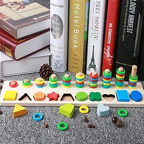 Bảng chữ số và hình học cho bé đồ chơi học tập, bảng ghép hình bằng gỗ thuộc giáo cụ Montessori giúp phát triển trí tuệ và kỹ năng cho trẻ