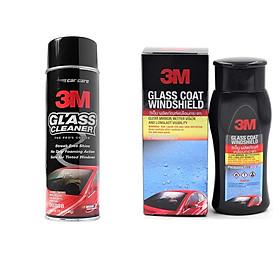 Bộ 2 Dung dịch chống bám nước trên kính xe 3M 08889LT và dung dịch rửa kính ô tô 3M 08888