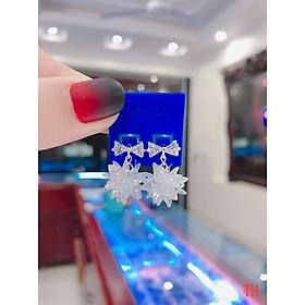 Hoa tai thắt nơ treo bông tuyết bạc cho nữ giá xưởng