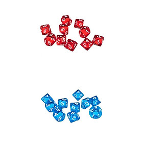 20 Pieces D10 Polyhedral Dice for Dungeons and Dragons Games Red+Blue