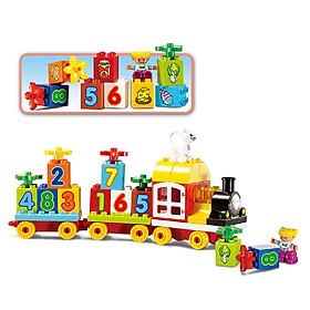 Bộ đồ chơi lắp ghép smoneo duplo xếp hình Tàu Hỏa Chữ Số 63 miếng - Toyshouse - 77003