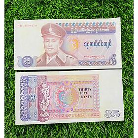 Tiền Myanmar 35 Kyats, tiền Miến Điện ngày xưa, mệnh giá hiếm gặp, tiền mới đẹp, tặng túi nilon bảo quản