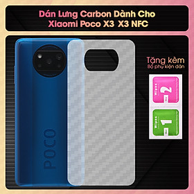 Miếng Dán Dẻo Mặt Lưng Vân Cacbon Dành Cho Xiaomi Poco X3- X3 NFC- Hàng Chính Hãng