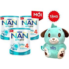 Combo 3 Lon Sữa Bột Nestlé NAN OPTIPRO 4 HM-O 900g + Tặng Balo Chú Gấu Mèo