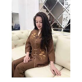 Áo Lam Đi Chùa - Bộ Cổ Tàu Thêu Sen màu Đồng