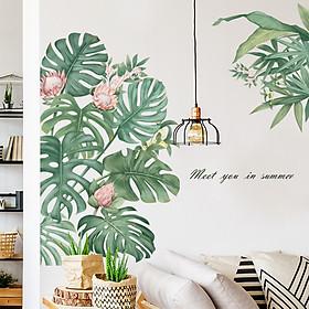Sticker Giấy Dán Tường Decal Dán tường Mẫu Hoa Lá Cực Xinh ZH022