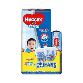 Tã dán HUGGIES DRY JUMBO M48 (5-10kg) Gói 48 miếng - Tặng thêm 1 gói tã quần jeans 4 miếng