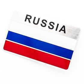 Sticker hình dán metal cờ Nga Russia
