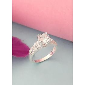 Hình đại diện sản phẩm Nhẫn nữ Bạc Quang Thản 100% bạc ta không xi mạ ổ cao gắn đá màu trắng cao cấp - NU52(bạc)