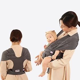 Địu vải Jumy, địu em bé bằng cotton cao cấp siêu dịu nhẹ, thoáng mát khi tiếp xúc với làn da trẻ nhỏ - Màu xám