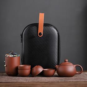 Purple Clay Portable for Travel Tea Supplies Kung Fu Tea Set Ceramics Teapot Teacup One Pot and Four Cups Outdoor Tea Utensils