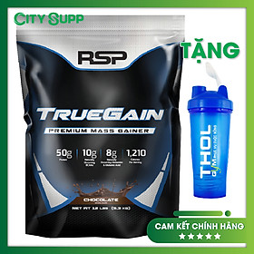 Combo Sữa tăng cân & tăng cơ nạc RSP True Gain 5.3 Kg Vị Chocolate & Bình lắc 600ml (Màu Ngẫu nhiên)