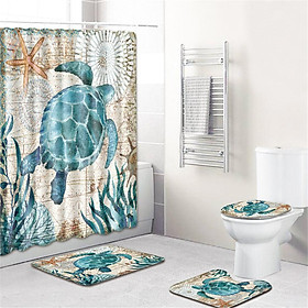 4  Pcs Non-slip Rug Toilet  Lid  Cover Bath  Mat Waterproof Bath  Curtain