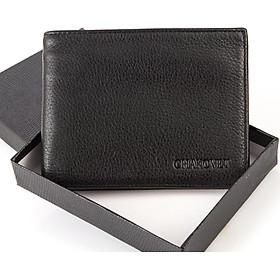 Ví bóp nam Chakovet CKV221 da bò cao cấp màu đen da sần phong cách Hàn Quốc sang trọng lịch lãm, kiểu ví dáng ngang or dáng đứng