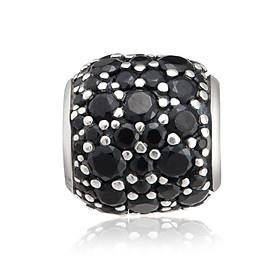 Hạt Charm nam PNJSilver My Man hình tròn đính hạt màu đen 14281.000-BO