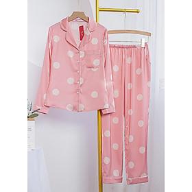 Đồ bộ mặc nhà, mặc ngủ kiểu dáng Pijama lụa cao cấp tay dài quần dài có túi 2 bên tiện lợi họa tiết chấm bi trẻ trung thanh lịch H260