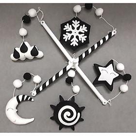 Combo thanh treo, hộp nhạc tự xoay và mẫu treo nôi đen trắng bông tuyết kích thích thị giác cho bé