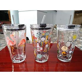 Bộ 3 ly thủy tinh uống nước in hình siêu dễ thương, có nắp đậy 450ml, tặng kèm ống hút thủy tinh