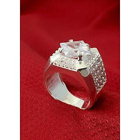 Nhẫn nam bạc cao cấp đá trắng trang sức Bạc QTJ - NA15(BẠC)