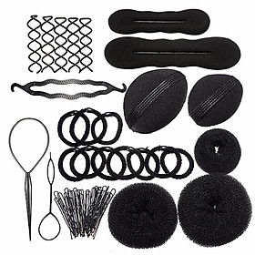 Hair DIY Tool Kit Donut Bun Maker U-shaped Clip Spiral Clip Hair Bands Hair Base Bumps Hair Loops Bun Makers