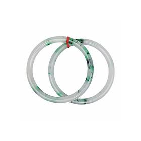 Hình đại diện sản phẩm Cặp Vòng Đôi Ngọc Sơn Thủy Đũa Tròn - Trắng Xanh (7cm)