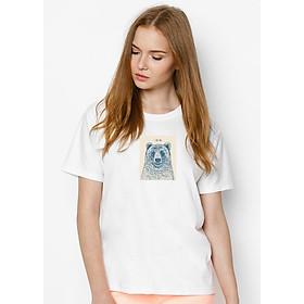 Hình đại diện sản phẩm Áo Thun Nữ In Hình Bear - Ivory SuviT01120021 - Trắng